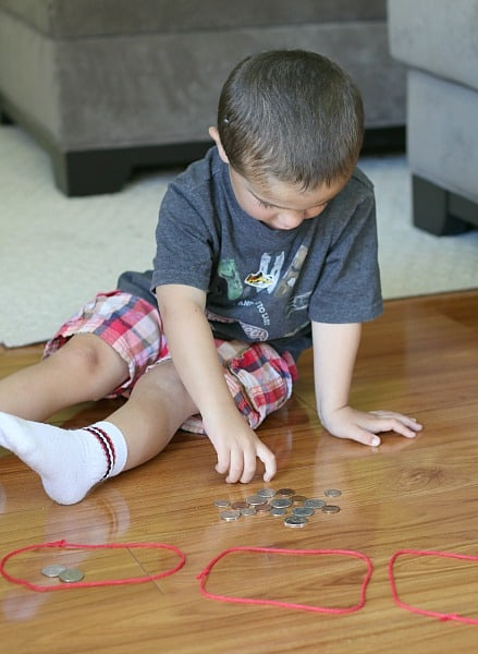 sorting coins with young children