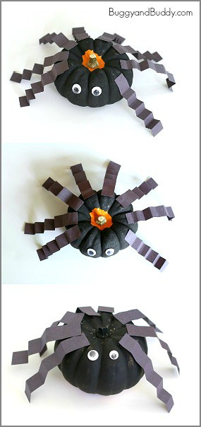 Perfect Halloween Craft for Preschoolers! (Spiders made from mini pumpkins!) ~ BuggyandBuddy.com