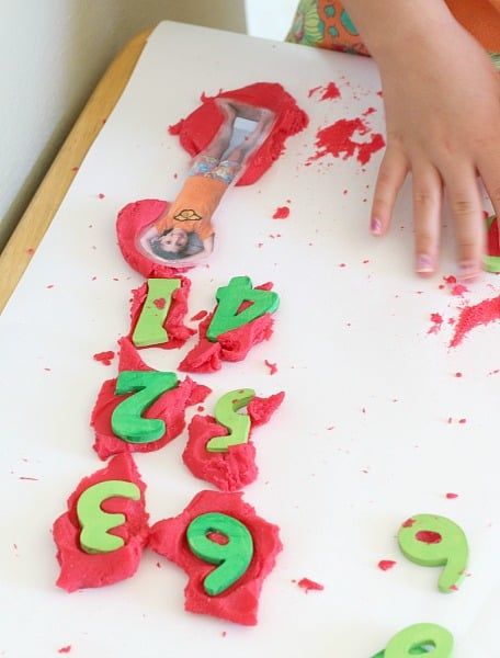 counting apple playdough activity