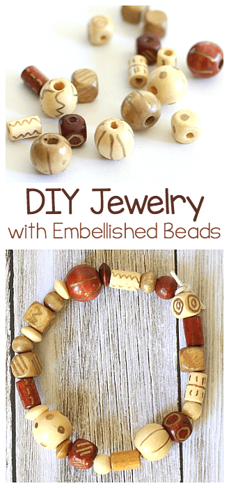 Embellish wooden beads to make your own bracelets and necklaces