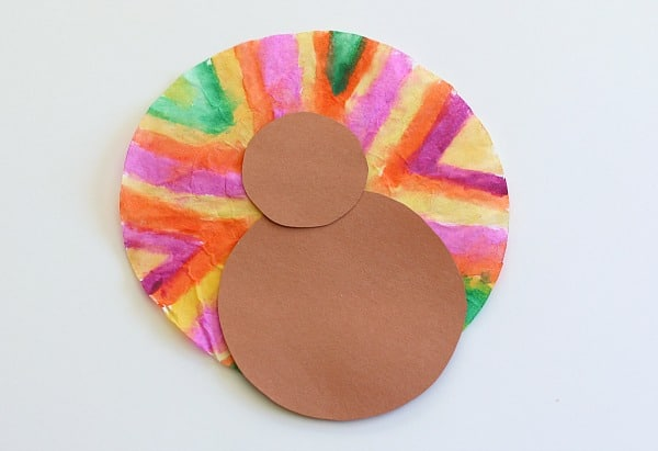 glue your two circles to your turkey craft for kids