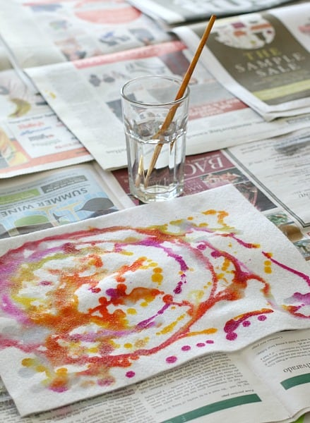 painting watercolors onto felt