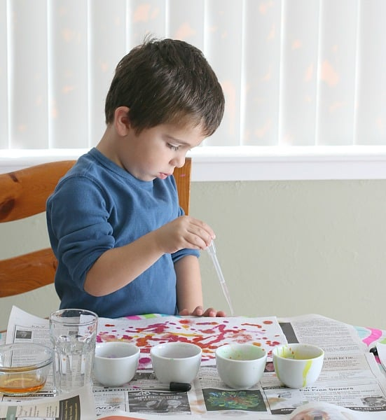 Painting with Liquid Watercolors on White Felt- Process Art for Preschoolers