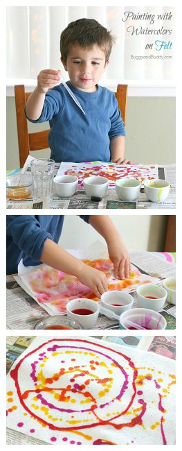 Sensory and Process Art for Preschool: Painting on Felt with Liquid Watercolor Paint
