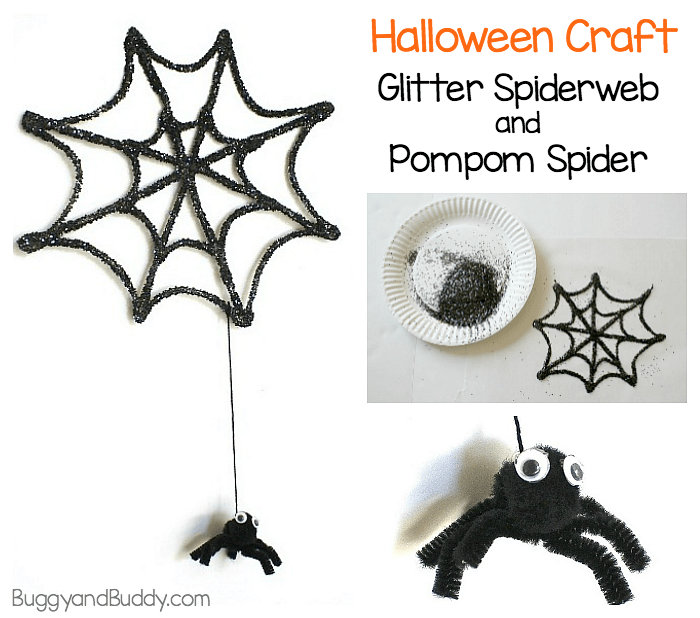 Halloween Craft for Kids: Glitter Spiderweb and Pompom Spider