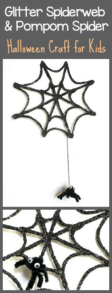 Halloween Craft for Kids: Make a 3-D Glitter Spiderweb and Pompom Spider Hanging Decoration! ~ BuggyandBuddy.com