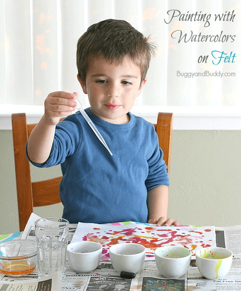 Trying using watercolors on felt for a super fun sensory art activity for kids! ~ BuggyandBuddy.com