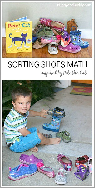 Sorting Shoes (Math Activity for Kids Inspired by Pete the Cat)~BuggyandBuddy.com