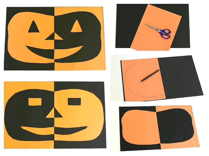 Positive Negative Space Paper Jack-o-lantern Craft for Halloween
