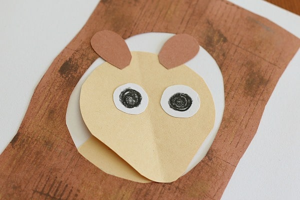 add eyes and ears to your squirrel craft