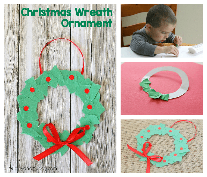 tear art christmas wreath ornament craft for kids
