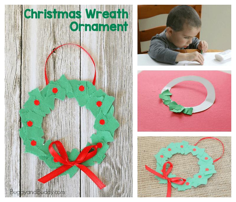 tear art christmas wreath ornament craft for kids