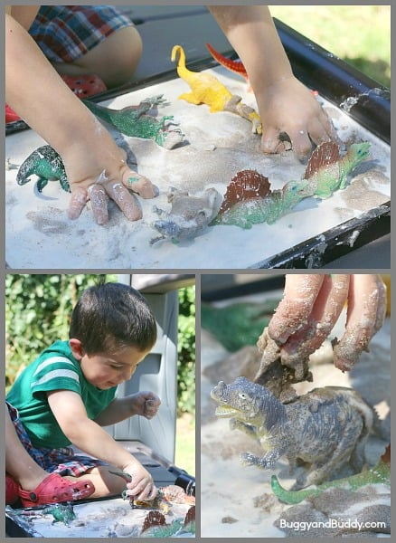Sandy Oobleck Recipe- A fun sensory material that kids can help make!~ BuggyandBuddy.com