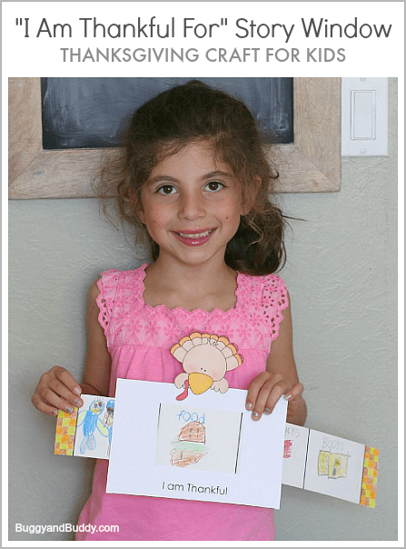 """Great way for kids to share what they are thankful for! (Thanksgiving Craft for Kids: """"I Am Thankful For"""" Story Window w/ FREE template)~ BuggyandBuddy.com"""
