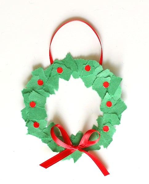 Homemade christmas ornaments tear art christmas wreaths for Christmas tree art and craft