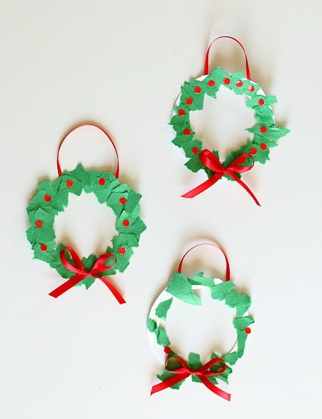 Christmas Crafts For Kids Homemade Tear Art Wreath Ornament