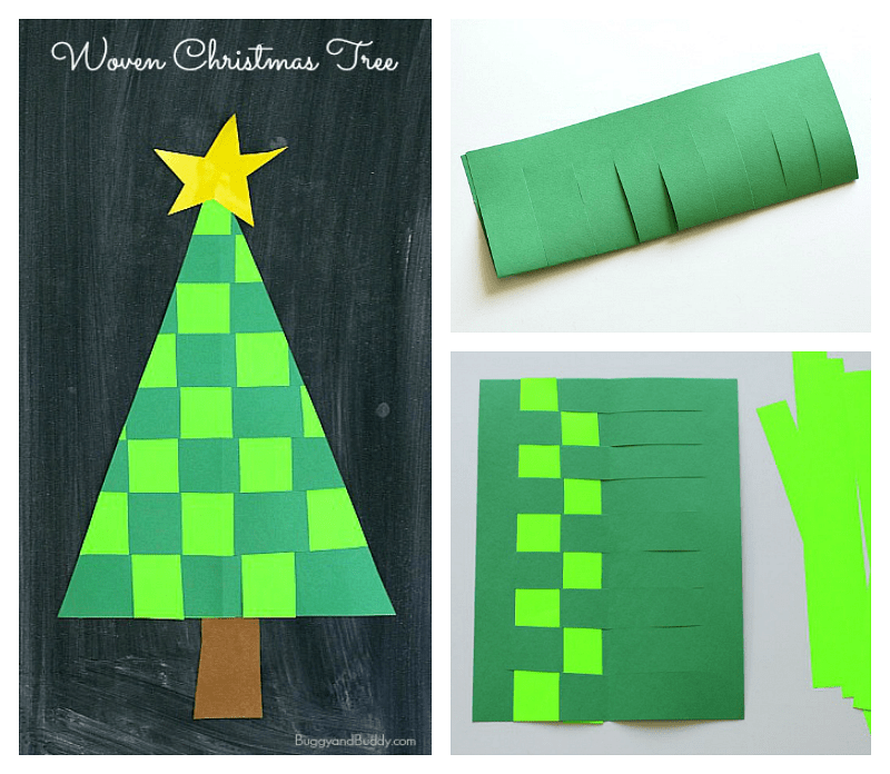 Woven Paper Christmas Tree Craft for Kids