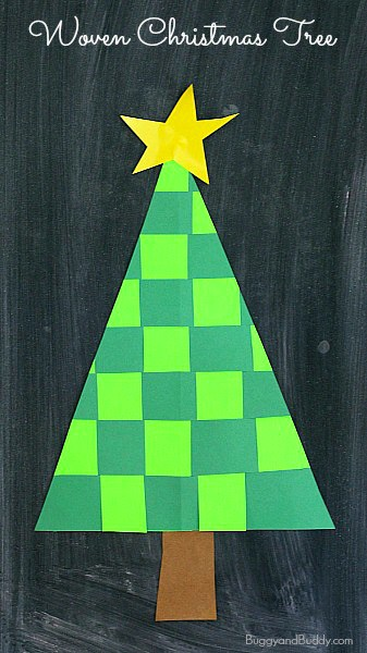 Christmas Tree Craft.Christmas Crafts For Kids Woven Paper Christmas Tree