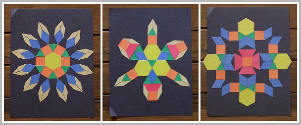 Create rotationally symmetric designs with pattern block shapes