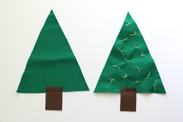 sew a brown trunk onto your felt tree