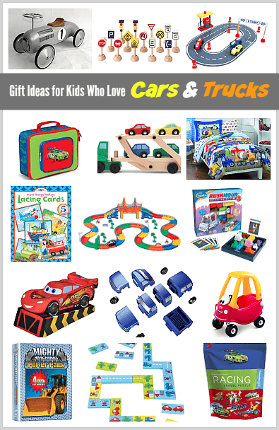 Gift Ideas for Kids Who Love Cars and Trucks (Gift Guide)~ BuggyandBuddy.com