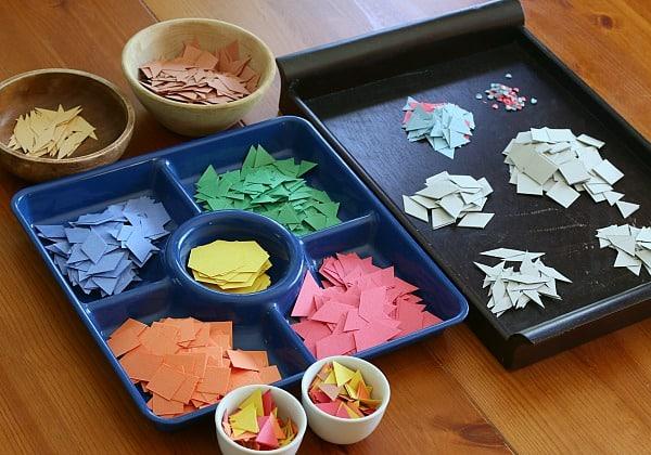 paper shapes cut from a die cut machine