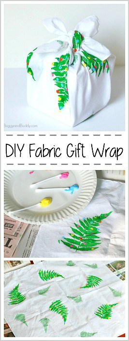 DIY Fabric Gift Wrap: Make your own reusable wrapping paper from fabric- 3 easy ways! Perfect for Christmas, Earth Day, and Birthdays. Makes a fun craft for kids of all ages! (Furoshiki) ~ BuggyandBuddy.com