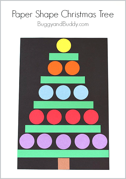 Christmas Crafts for Kids: Paper Shape Christmas Tree Craft~ BuggyandBuddy.com