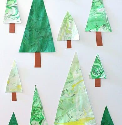 Marbled Christmas Tree Craft for Kids