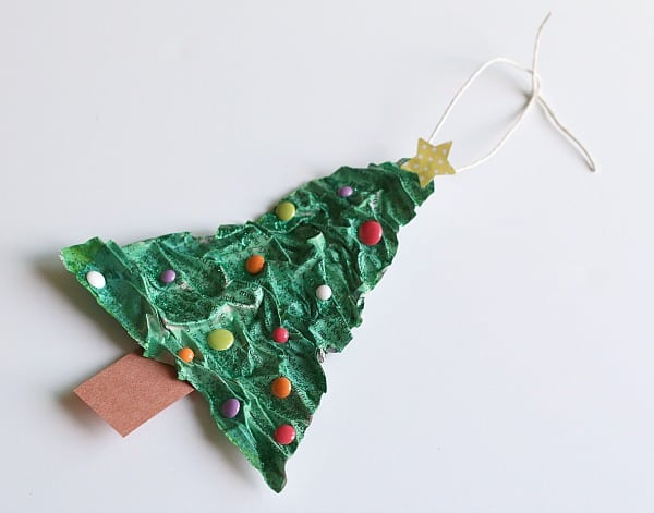 Homemade Christmas Tree Ornament Using Newspaper and Flour - Buggy ...