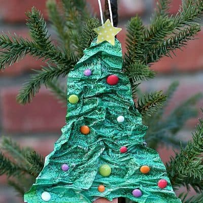 Homemade Christmas Tree Ornament Using Newspaper and Flour