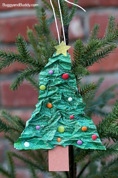 Paper Mache Christmas Tree Ornament~ BuggyandBuddy.com