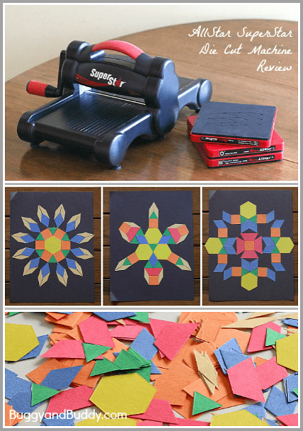 Math and Art for Kids using paper pattern block shapes- make symmetrical designs, pictures, fall trees, robots, and more! ~ BuggyandBuddy.com
