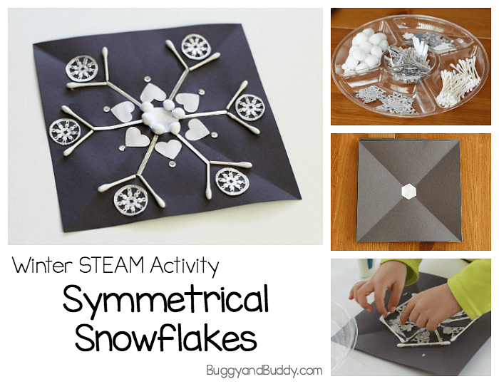 Winter STEAM Activity: Make symmetrical snowflakes craft for kids