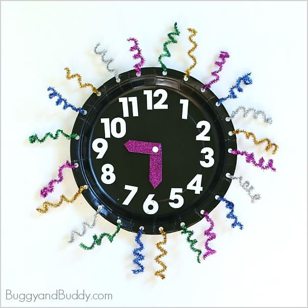 New Year's Paper Plate Clock Craft for Kids