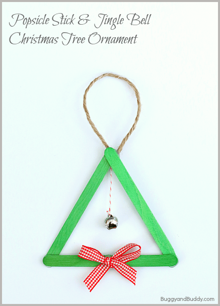 Popsicle Stick and Jingle Bell Homemade Christmas Tree Ornament~ BuggyandBuddy.com