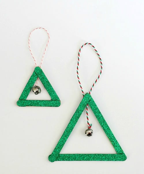 Glittery Popsicle Stick and Jingle Bell Christmas Tree Ornament