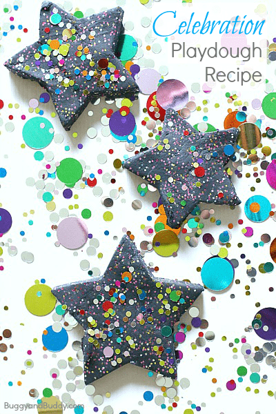 Celebration Playdough Recipe: This black play dough recipe and confetti make the perfect addition to a child's special day- especially a birthday or New Year's Eve! ~ BuggyandBuddy.com