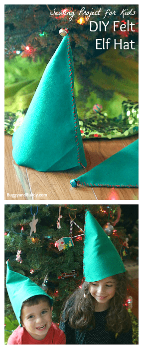 felt elf hat sewing project for kids