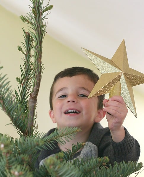 hanging the star on top of the Christmas tree