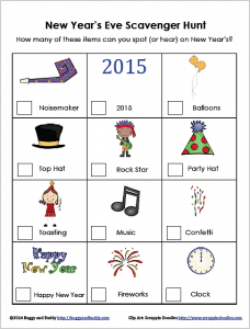 Free New Year's Eve Scavenger Hunt for Kids~ BuggyandBuddy.com