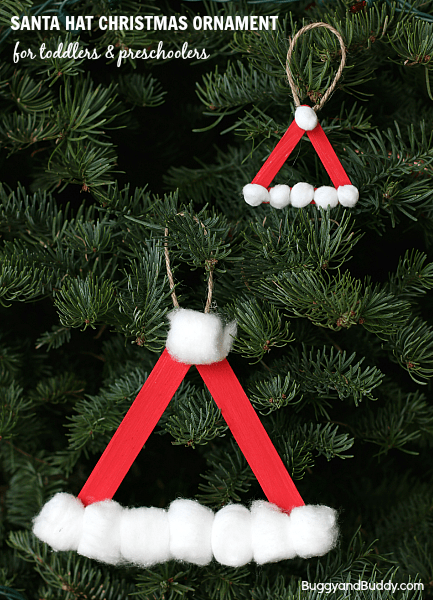 Santa Hat Christmas Ornament Craft For Kids Using Popsicle Sticks Easy DIY