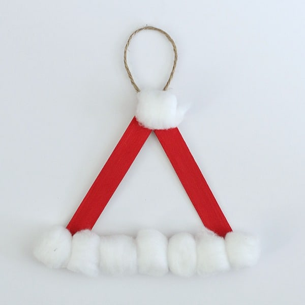 glue string onto your homemade Santa hat Christmas ornament