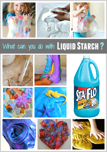 All kinds of activities for kids (including slimes and art projects) using liquid starch!