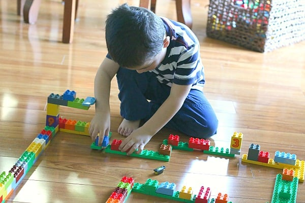 Preschool Activity: Use Duplo Bricks and Hexbugs