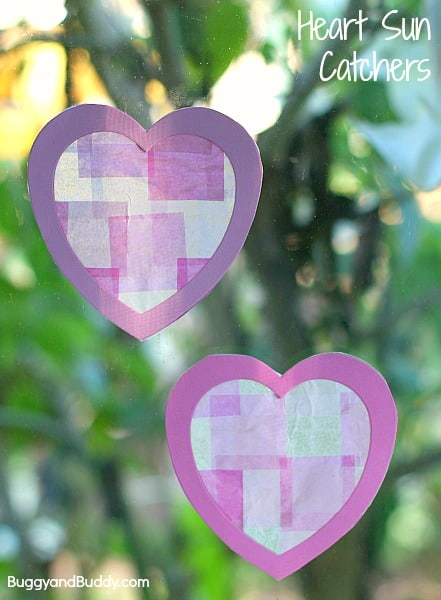 Valentine Crafts for Kids: Heart Suncatchers~ BuggyandBuddy.com
