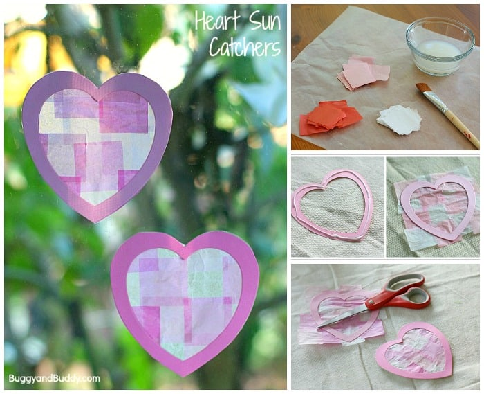 Easy Valentine's Day Craft for Kids- Heart Suncatchers Using Tissue Paper!