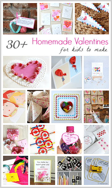 30+ Homemade Valentine Ideas for Kids: Make your own DIY valentine's day cards- includes candy free valentine ideas, pencil valentines, crayon valentines, and more!