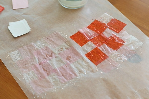 paint starch over the tissue paper