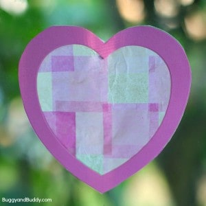 Valentine Crafts for Kids: Heart Suncatchers Using Tissue Paper